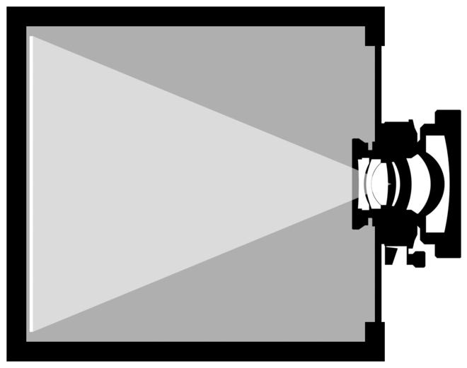 Chambre noire équipée d'un objectif.