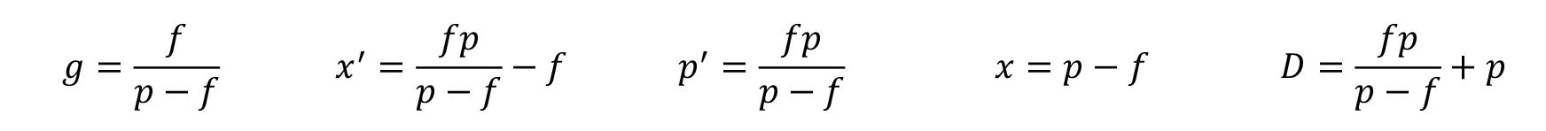 Focale et distance de l'objet au centre optique
